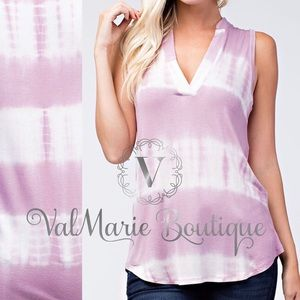 Mauve tie dye notch neck top